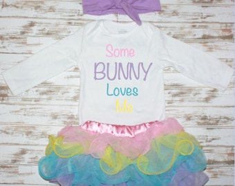 Easter Some Bunny Loves Me Onesie-Easter Photo Prop-Eater Outfit