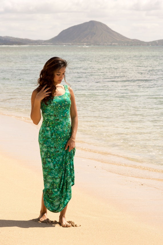 Small Lexie Maxi Dress / Exclusive Teal Pond Print Jersey