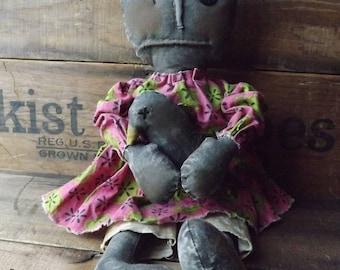 Primitive Black Rag Doll Handmade Black Crow Rag Doll