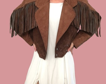 Brown Leather Fringe Jacket/ Brown Leather Fringe Coat/ Authentic Leather Suede Fringe Coat/ Fringe Jacket/ Brown Suede Fringe Jacket