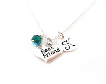Best Friend Necklace - BFF Heart Charm - Swarovski Crystal Birthstone Necklace - Personalized Initial Sterling Silver Jewelry - Gift for Her