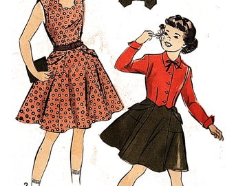 Advance 5381 Girl's Vintage 1950s Jumper and Jacket Sewing Pattern