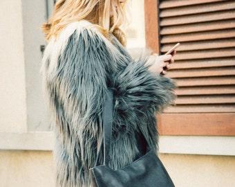 Charcoal Gray leather tote bag, Soft leather bag, Women bag, Handmade Leather Tote Bag, Leather Zipper bag, SHIRI Bag, Ready To Ship