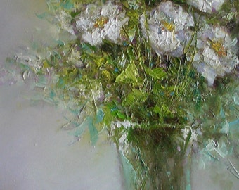 """Picture """"Vase with white flowers."""" Written on canvas with oil paints framed."""