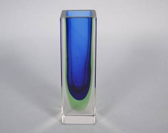 Murano Sommerso faceted clear / blue / green vase