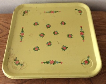 Retro Square Yellow Trays with Flowers - Set of 6