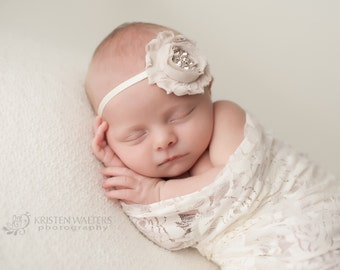 FREE SHIPPING! Newborn Headbands, Baby Headbands, Beige Headband, Baby Headband, Newborn Headband, Baby Girl Headbands, Flower Headbands