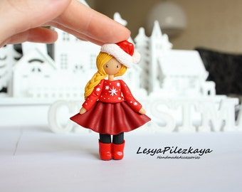 Polymer clay brooch with little girl in red christmas clothing - christmas jewelry