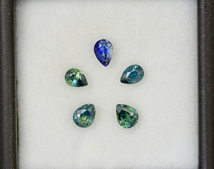 Excellent Blue and Green Sapphire Gemstone Set from Australia 1.50 tcw.