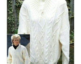 Hand knitted unisex mens womens aran style jumper sweater with front neck opening S/M - M/L - mens clothes - gents clothing