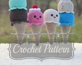 Amigurumi Pattern, Crochet Ice Cream, Crochet Pattern, Ice Cream Cone, Crochet Rattle PDF, Mini Ice Cream Cone, Ice Cream Rattle