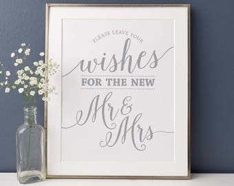 Printable Wedding Wishes Sign Silver // Leave Your Wishes for the New Mr and Mrs // Gray, Silver Wedding Decor, Instant Download
