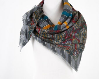 1980s Liz Sinclaire Paisley and Stripes Large Square Scarf Self Fringe