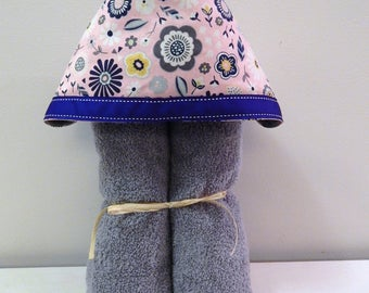 Butterfly and Feather Pink and Gray Hooded Bath, Beach, or Pool Towel Wren Riley Designs