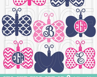 Monogram SVG Files Set of 8 files includes svg/png/jpg formats Commercial use ok butterfly svg butterfly monogram spring svg