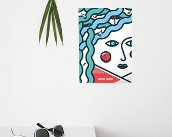 Endless Summer, Pop Art, Summer, Girl, Sea, Colour, illustration, Wall Art, Home Decor, a4, Poster, Geometric