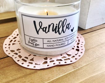 Vanilla - 15oz All Natural Soy Candle | Hand Poured | Vanilla Candle | Handmade | Housewarming Gift | Gift For Her | Scented Candle
