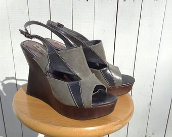 Grey & Black Peep Toe Wedges; Modernist Heels; Large Size