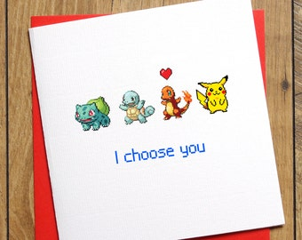 Pokemon Valentines Card, Birthday Card, Pokemon Card, I Choose You Card, Anniversary Card, Pikachu Love Card, Squirtle, Charmander Bulbasaur