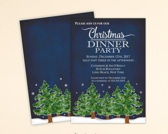 Christmas Dinner Party Invitation, Christmas Party Invitation, Holiday Open House, Christmas Open House, Tree Trimming Party, C13009