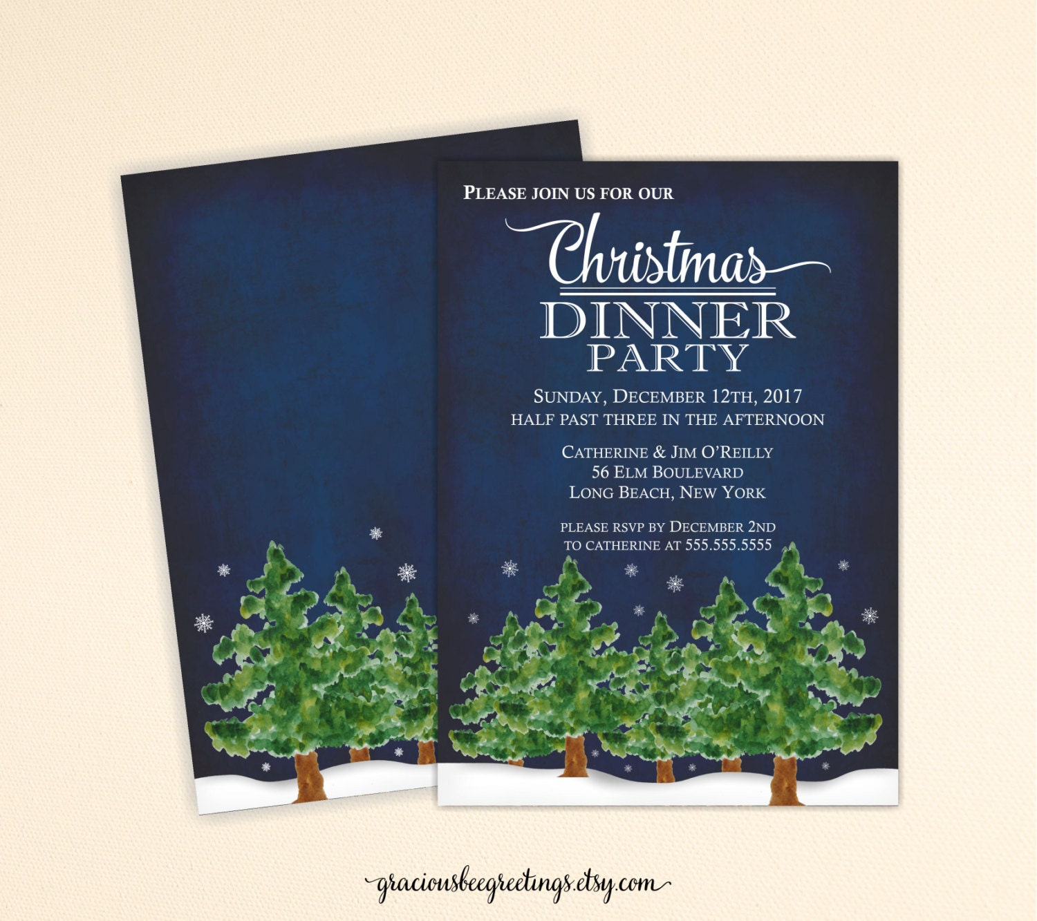 Christmas Dinner Party Invitation Christmas Party Invitation