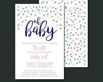 Baby Sprinkle Invitation | OH BABY| Baby Girl Sprinkle Shower