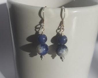 Sodalite Earrings, Blue Earrings, Silver Earrings, Sterling Silver, Gemstone Earrings, Sodalite Jewelry.