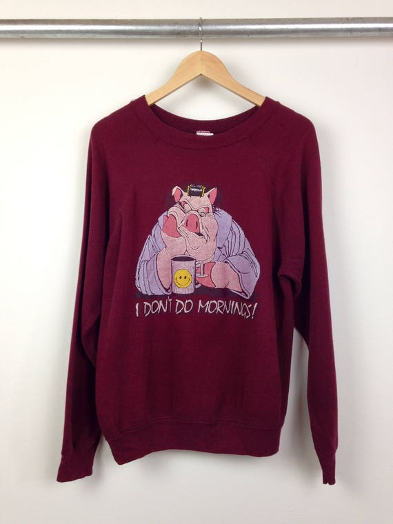 "Vintage ""I Don't Do Mornings"" Crew Neck Sweatshirt"