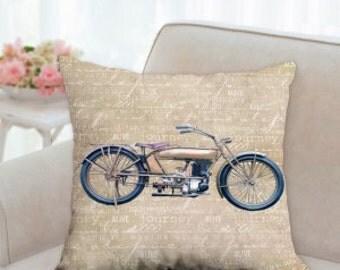 Vintage Motorcycle Designer Pillow
