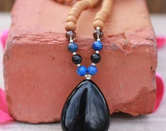 Onyx and Sandalwood  Mala  Meditation Inspired Yoga Beads/ Mala Beads BOHO chic