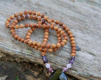 Smokey Quartz Sandalwood Mala - Yoga Beads Meditation Inspired BOHO chic / mala beads