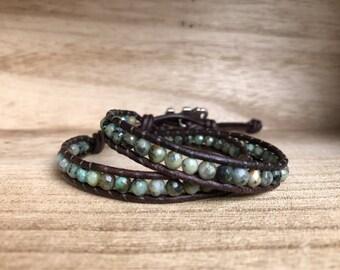 African Turquoise Single Wrap Bracelet