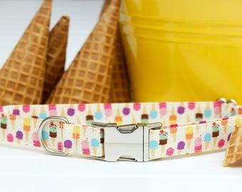 Ice Cream Dog Collar, Summer Dog Collar, Female Dog Collar, Ice Cream Cones, Metal Buckle, Girl Dog Collar, Fabric Dog Collar, Waffle Cone