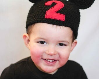Mickey inspired Party Hat/ Party Hat/ Mickey Party/ Personalized party hat/ 2nd Birthday Hat/ Mickey party outfit/ Mouse party hat