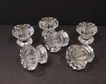 6 Vintage Glass Cabinet Knobs