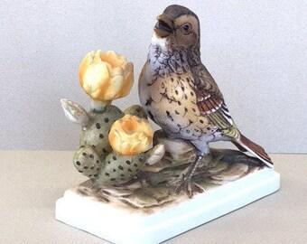 Bird Figurine Lefton Sparrow Figurine Japan Hand Painted Bird Figure Vesper Sparrow with Cactus Flowers