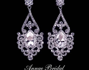 "Bridal earrings rhinestone teardrop earrings wedding jewelry crystal Swarovski ""Grand Princess"" earrings"