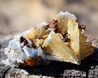 Blue & Yellow Barite Crystal ~ Morocco ~ Unique Mineral Specimen