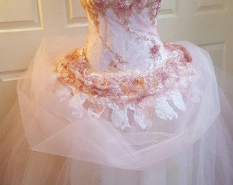 Romantic One Shoulder Pink Gold & White Embroidered Lace Corset Tulle Princess Bridal Wedding Ball Gown