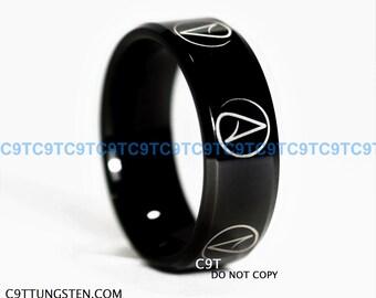 8MM Tungsten Band High Polish Black Beveled ATHEIST Design Ring