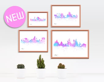 Florida Theme Park Watercolor Skylines 4 Pack, Princess Fairy Castle, Animal Zoo, Future World, Tomorrow Land.