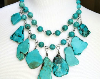 Turquoise Statement Necklace - Turquoise Bib Jewelry - Stone Statement Necklace - Dangle Necklace - Turquoise Statement Necklace