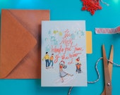 Christmas cards calligraphy- The Most Wonderful Time of the Year - Colourful Typography hand drawn illustrated A6 christmas cards