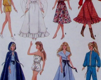 Vintage  Simplicity Sewing Pattern #8333  Barbie and other 11 1/2 inch doll clothes, Wedding Gown, Skirt, Pants, Romper, Cape Epsteam