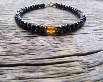 Amber Bead Bracelet, Baltic Amber Bracelet, Hematite Bracelet, Stack Bracelet, Gemstone Bracelet, Amber Jewelry, Boho Bracelet, Women's Gift