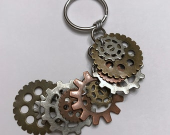 Steampunk Key Chain, Multicolored Gears Galore, Budget Gift, Techie Geek Gift, Stocking Stuffer, Secret Santa