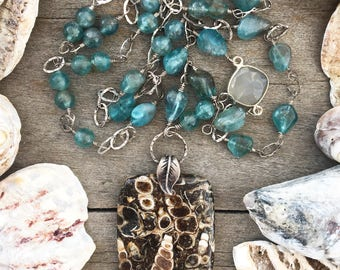 Turitella Agate, Apatite, Sterling Silver, Necklace, Handmade, Beach Inspired, Fossil, Nature, OOAK, Statement