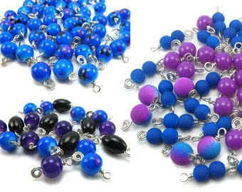 Blue Black Purple Dangle Charms - 10 Glass Bead Dangles - Cute Jewelry Supplies - Bead Charm Mix - for DIY Charm Bracelets - Set 06Q