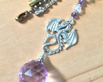 Dragon light pull, ceiling fan pull or sun catcher. Purple glass Crystal ball chain pull.  Lighting decor, fantasy decor, light purple.