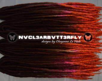 "Wool Dreads - 40DE ""Autumn Sunset"" 18""- 20"" (Total Length = 36""- 40"") Brown Auburn Pink Neon Orange Dreadlocks"